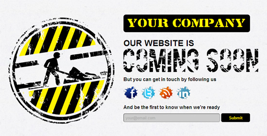 A Free HTML Coming Soon Under Construction Template
