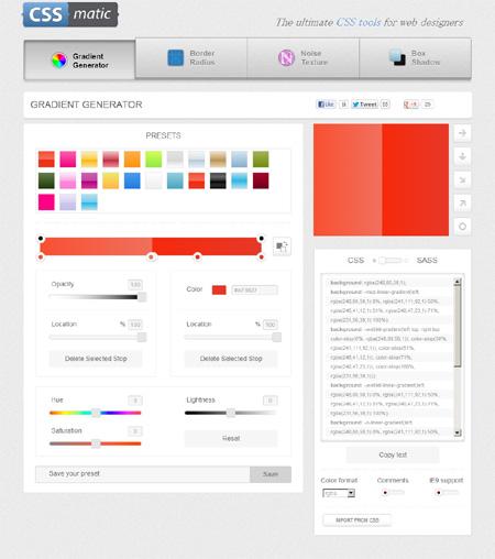 GRADIENT GENERATORを使ってみる - Webデザイナーさんブックマーク必須なジェネレーター「CSS matic」