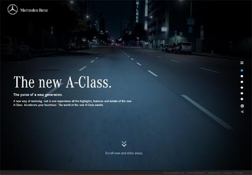 Mercedes Benz Class A - パララックス効果を使ったサイト10個